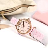 FOSSIL / CE1106 / Carlie 細緻典雅 晶鑽錶圈 陶瓷手錶 粉x玫瑰金框 30mm