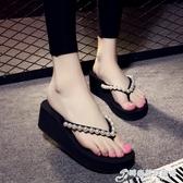 人字拖人字拖女厚底坡跟夾腳涼拖鞋 外穿鬆糕底防滑沙灘鞋夏 芭莎11 2