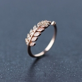 戒指 925純銀 鑲鑽-氣質葉子生日情人節禮物女開口戒2色73dt2【時尚巴黎】