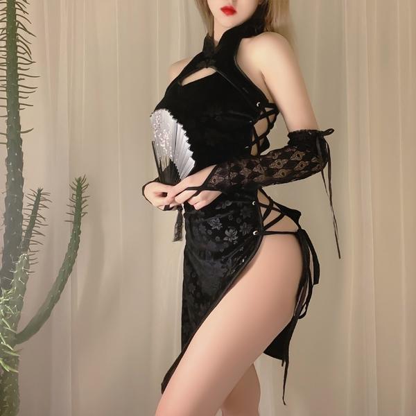 旗袍 提花復古性感旗袍 角色扮演服黑色旗袍COSPLAY表演服 流行e線A7299