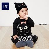 Gap女嬰兒 萬聖節系列柔軟趣致圖案蝴蝶袖套頭針織衫 374764-純正黑色