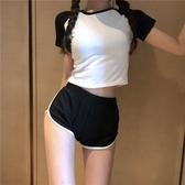 現貨 運動風套裝女夏季緊身露肚臍T恤短褲兩件套【淘夢屋】