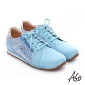 A.S.O 輕量抗震 金箔牛皮拼接奈米綁帶休閒鞋  淺藍