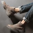 秋冬季真皮馬丁靴男高幫工裝鞋中幫戰狼男靴子英倫風軍靴沙漠短靴 星河光年