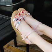 楔型鞋 韓版夏季一字扣坡跟涼鞋女夏季百搭學生網紅高跟鞋子潮 【韓國時尚週】