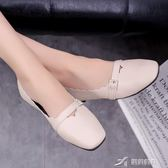 牛筋底春季新款一腳蹬女鞋淺口單鞋奶奶鞋平底小白鞋子豆豆鞋 樂芙美鞋