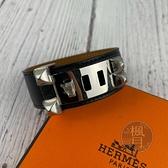 BRAND楓月 HERMES 愛馬仕 D刻 黑單層CDC銀釦手環 寬版 皮革手環 手圈 鉚釘 經典造型 萬用百搭 配飾