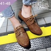 大尺碼女鞋-凱莉密碼-時尚有型設計款仿皮紋小尖頭牛津鞋1.5cm(41-48)【HB255】淺棕