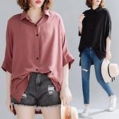 雪紡襯衫女短袖夏裝2020新款寬鬆韓版大碼洋氣減齡中長款純色襯衣「艾瑞斯居家生活」
