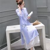 旗袍洋裝 秋裝新款中國風文藝改良日常旗袍中長款棉麻連身裙禪茶服琴服