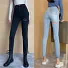 窄管褲 復古彈力緊身破洞牛仔褲女春季顯瘦高腰小腳褲子修身休閒直筒長褲-Ballet朵朵