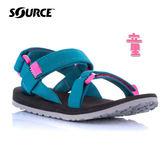 SOURCE 兒童URBAN織帶涼鞋101093OQ【海洋藍-粉】 / 城市綠洲(織帶、輕量、快乾、抑菌)