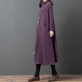 春裝新品1件85折 2020新款唐裝中國風 韓版寬鬆大碼 文藝高領連身裙-不含配飾