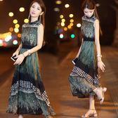 連衣裙女夏2018新款韓版女裝無袖修身收腰顯瘦復古印花雪紡長裙女   初見居家