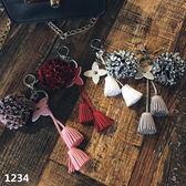 韓式創意鑰匙圈,流蘇皮革,珍珠皮革花朵,多款可選