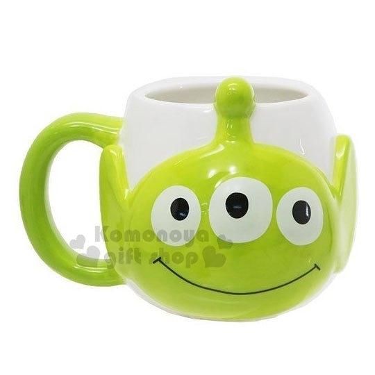 〔小禮堂〕迪士尼 三眼怪 造型陶瓷馬克杯《白綠.大臉》350ml.茶杯.咖啡杯 4942423-24914