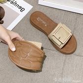 拖鞋女夏外穿學生韓版百搭ins潮新款平底涼拖孕婦軟底一字拖 雙十一全館免運