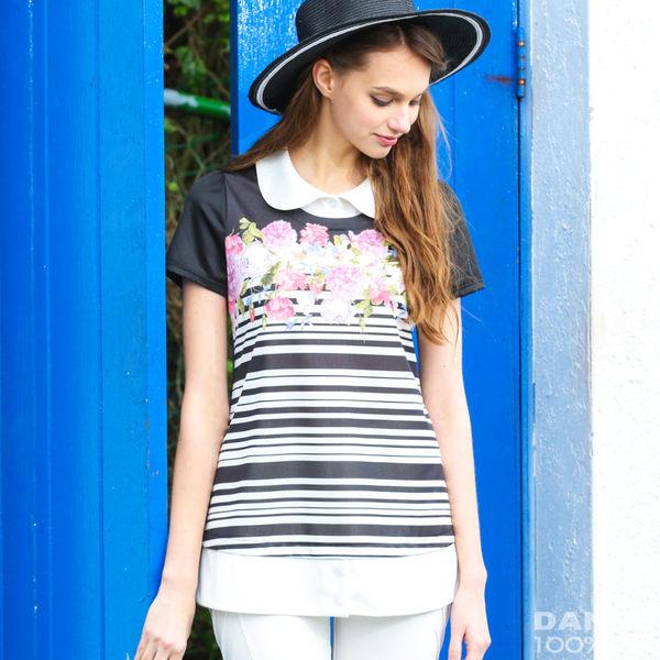 【岱妮蠶絲】花園美流行假兩件蠶絲短袖上衣