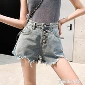 年夏季新款韓版牛仔超短褲女寬鬆高腰闊腿a字毛邊薄款熱褲潮 蘑菇街小屋