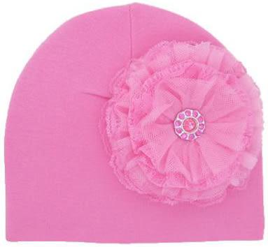 嬰幼兒保暖綿帽: 玫瑰: 蕾絲: 糖果粉色糖果粉底: Jamie-0567