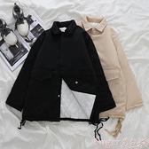 工裝外套 工裝棉服女韓版寬鬆bf風冬季2021新款學生加厚港風中長款黑色外套 suger