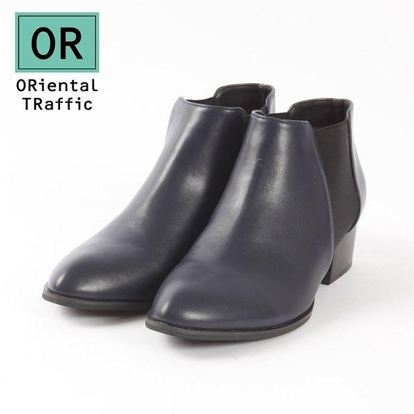 【ORiental TRaffic】百搭側鬆緊帶中跟短靴-摩登藍