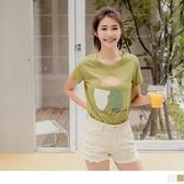 《AB13250》台灣製造.高含棉竹節棉幾何圖塊印花T恤上衣 OrangeBear