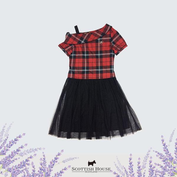 【紅黑格】一字翻領格紋連身洋裝 Scottish House【AI3107】