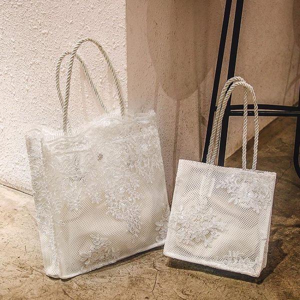 刺繡包仙女包包女2019韓國蕾絲手提購物袋復古夏天刺繡托特包側背包 爾碩數位3c