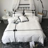 床单/被套 純棉床裙款蕾絲邊四件套歐式純色全棉床罩被套1.8m床上