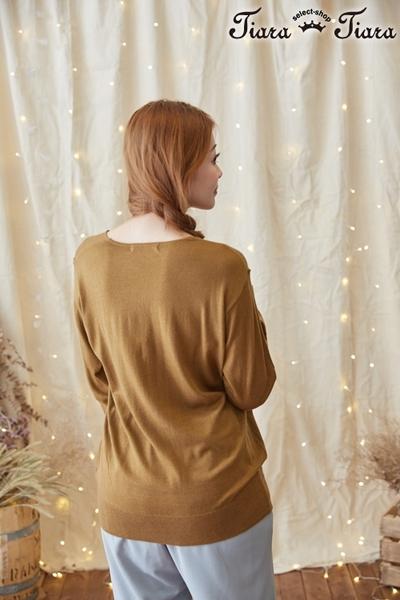 【Tiara Tiara】激安 寬肩線V領長袖上衣(條紋/藏青/寶藍/棕色)