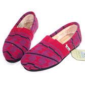 TOMS 紫底紅方塊針織鋪棉懶人鞋【現貨】