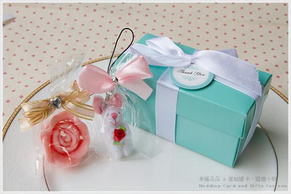 Double Love Tiffany盒「玫瑰小兔吊飾+玫瑰皂」二入禮盒.姊妹禮結婚婚禮小物.禮品