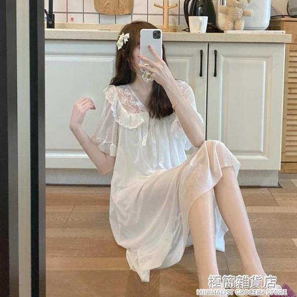 公主風可愛睡裙女夏2021年夏季新款日系甜美薄款白色短袖睡衣裙子 極簡雜貨