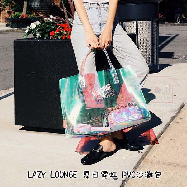 韓國LUCALAB Lazy Lounge 夏日霓虹PVC時尚側背包/沙灘包/網美包首爾的家