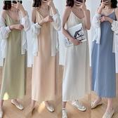 短袖洋裝-吊帶裙子夏裝2021新款女小黑裙顯瘦性感打底內搭中長款雪紡連身裙