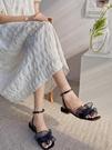 熱賣低跟鞋網紅涼鞋女夏新款法式網紗荷葉邊一字帶簡約百搭低跟涼鞋仙女風鞋 【618 狂歡】