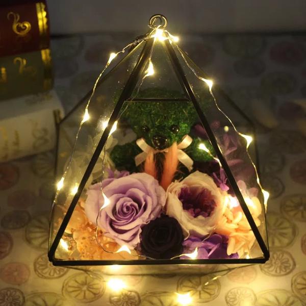 永生花,三角幾何花房,帶燈,共3款