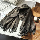 韓版復古格子流蘇雙面仿羊絨加厚保暖披肩圍巾-夢想家2號店-1018