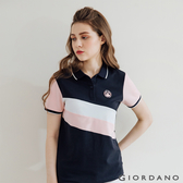 【GIORDANO】女裝粉色拼接彈性萊卡POLO衫 - 02 標誌海軍藍