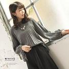 【KatieQ】風琴摺抽繩袖針織上衣-F 3235 FREE灰色
