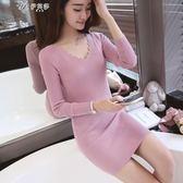 秋冬季新款韓版針織衫修身顯瘦中長款套頭毛衣女打底衫長袖伊芙莎