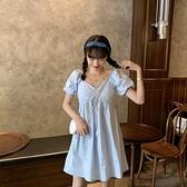 夏季2021新款泡泡袖收褶娃娃裙洋裝女溫柔風法式小個子裙子