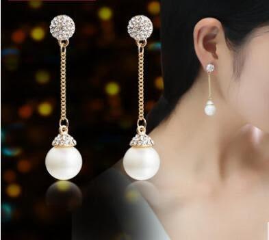 (萬聖節狂歡)耳環 正韓歐美長版大小珍珠氣質兩用耳釘耳環女氣質