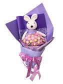 娃娃屋樂園~45CM砂糖兔21朵金莎直立式花束 每束2000元/情人節花束/情人節禮物/畢業花束