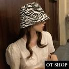 OT SHOP [現貨] 帽子 漁夫帽 遮陽帽 遮臉盆帽 水桶帽 黑白斑馬紋 動物紋 時尚百搭穿搭配件 C2163