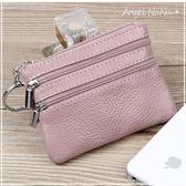 真皮零錢包-牛皮耐用純色拉鍊小硬幣包耳機包卡包鑰匙圈鑰匙包 (SMA0196)