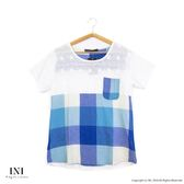 【INI】輕鬆穿著、細緻格紋棉麻緹花上衣.水藍色