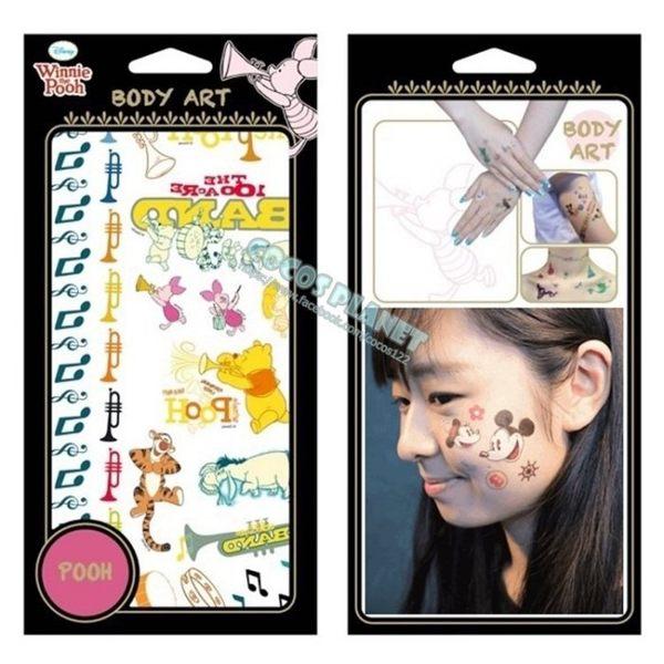 迪士尼紋身貼紙 小熊維尼熊 小豬 跳跳虎 屹耳 皮傑 刺青貼紙 轉印貼紙 02音樂維尼 COCOS TL045