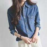 秋裝新款韓版修身長袖襯衣休閒牛仔襯衣
